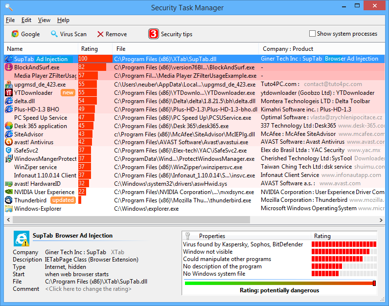 Security Task Manager Screen shot