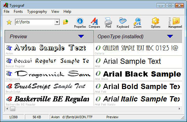 Top class font manager for OpenType, TrueType, PostScript Type1 and printer fonts. Previews all fonts, prints fonts in many ways, compares fonts, displays all font properties and views character set, keyboard layout. Zoomes and manages fonts.